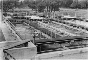 Aeration tanks at the sewage disposal plant